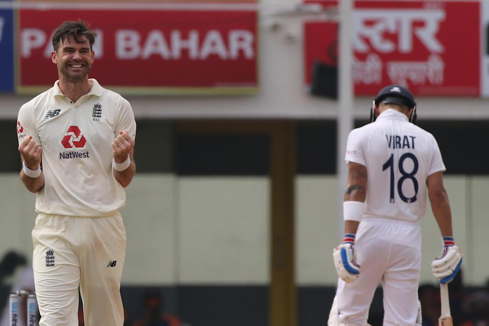 <p>James Anderson of England celebrates the wicket of Rishabh Pant</p> (ECB)