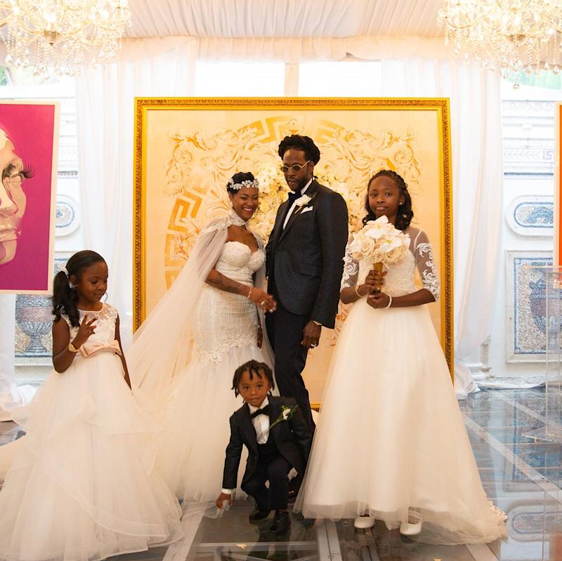 Tauheed Epps, aka 2 Chainz, and Kesha Ward—seen here with their three children, Heaven, Harmony, and Halo—took over the ridiculously over-the-top Versace Mansion for a ceremony that drew the likes of Kim Kardashian and Kanye West, the latter of whom caused a scene when he showed up wearing socks and sandals.
