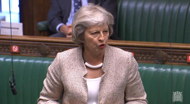 Former prime minister Theresa May asks Cabinet Office minister Michael Gove a question during a session in the House of Commons, London, on the appointment of the National Security Adviser.