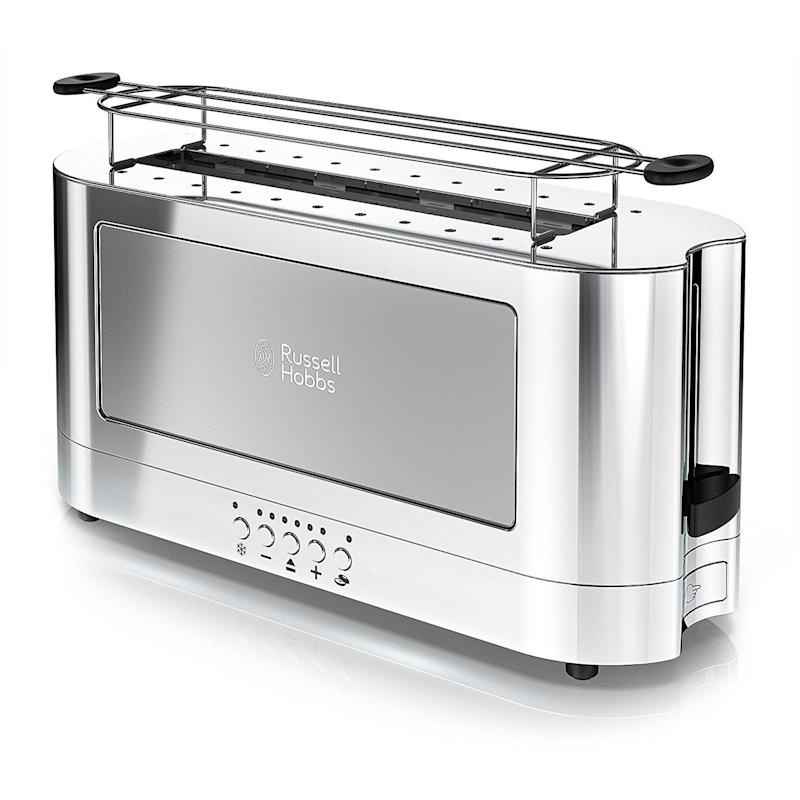 "This <a href=""https://www.amazon.com/Russell-Hobbs-2-Slice-Stainless-TRL9300GYR/dp/B074YD72Q2?ref=ast_p_pg_ma"" target=""_blank"">sleek, minimalist toaster</a> is perfect for someone who doesn't have too much room in the kitchen."