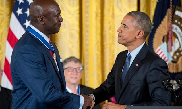"""<span class=""""element-image__caption"""">Michael Jordan receives the presidential medal of freedom from Barack Obama in 2016.</span> <span class=""""element-image__credit"""">Photograph: Andrew Harnik/AP</span>"""