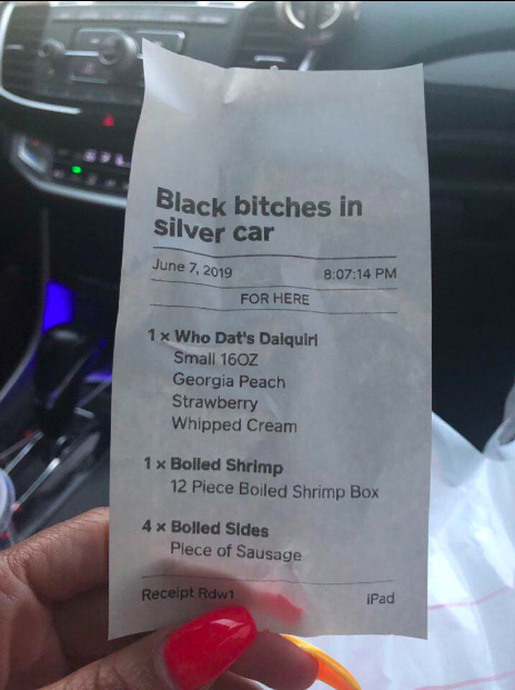 Alexia Washington was shocked to read this racist message on her food receipt at local restaurant Who Dat, so she went public with it — and her decision paid off. (Photo: Courtesy of Facebook/Jakez Smith)
