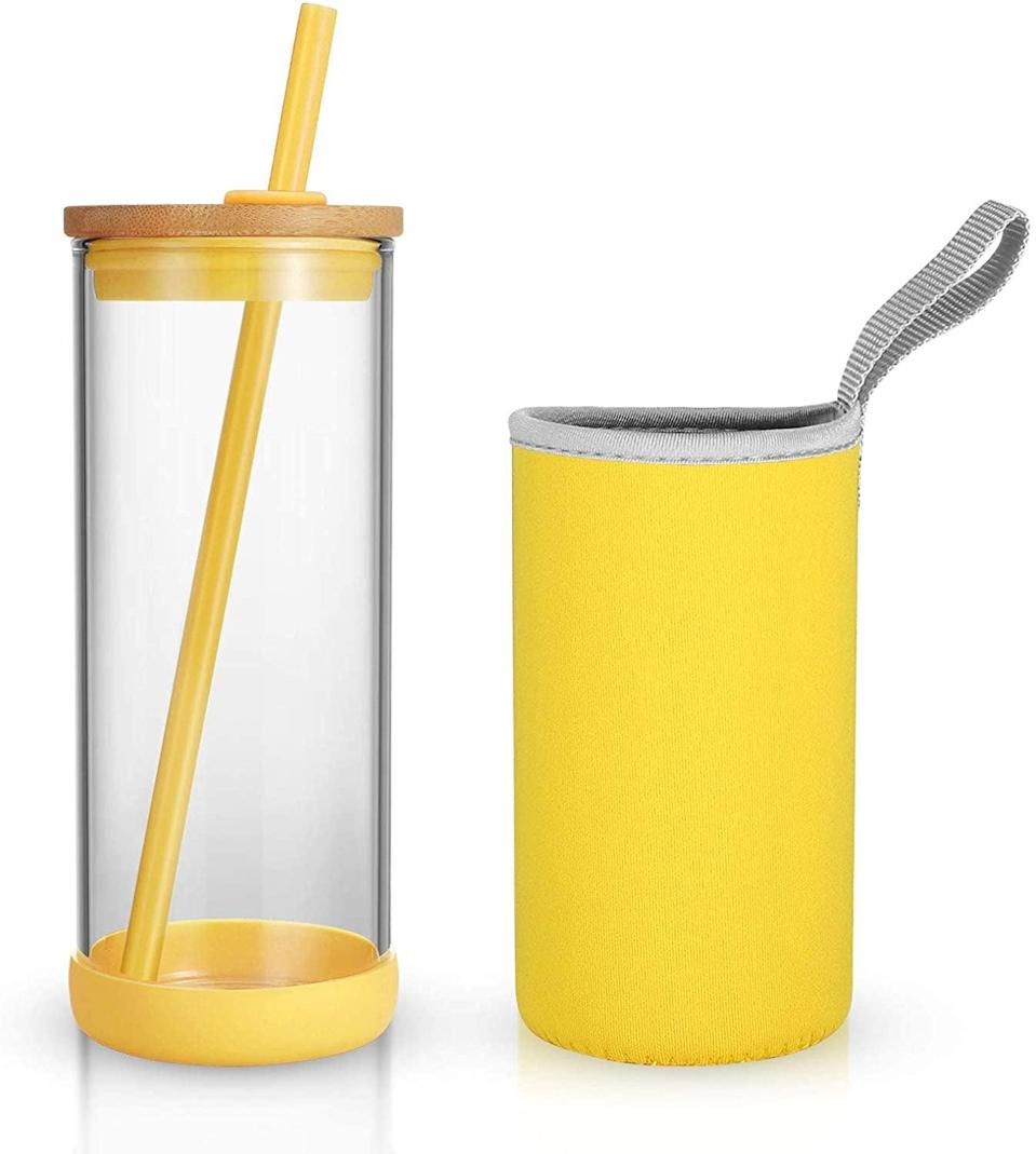 <p>Stay hydrated with the resuable and stylish <span>Tronco 20oz Glass Tumbler with Silicone Straw, Bamboo Lid, and Removable Soft Insulator Sleeve</span> ($16).</p>