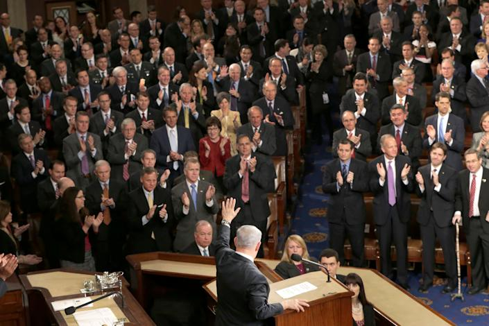 Israeli Prime Minister Benjamin Netanyahu waves after speaking before a joint meeting of Congress on Capitol Hill in Washington on March 3, 2015.