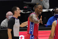 Philadelphia 76ers center Dwight Howard complains as he is ejected from the game during the second half of an NBA basketball game against the Los Angeles Clippers Saturday, March 27, 2021, in Los Angeles. The Clippers won 122-112. (AP Photo/Mark J. Terrill)
