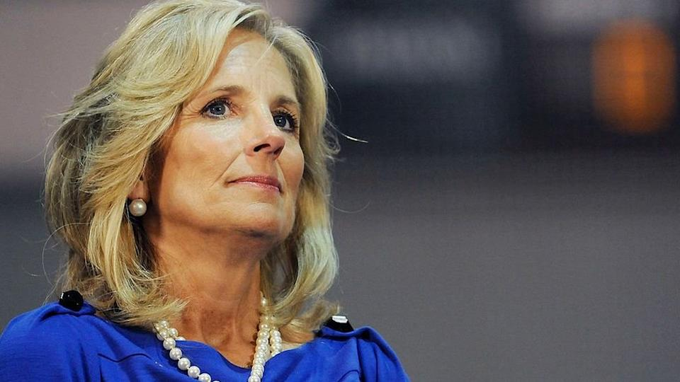 Dr Jill Biden listens in at a rally in support of Democratic presidential nomineee U.S. Sen. Barack Obama