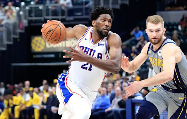 INDIANAPOLIS, IN - JANUARY 17: Joel Embiid #21 of the Philadelphia 76ers dribbles the ball against the Indiana Pacers at Bankers Life Fieldhouse on January 17, 2019 in Indianapolis, Indiana. (Photo by Andy Lyons/Getty Images)