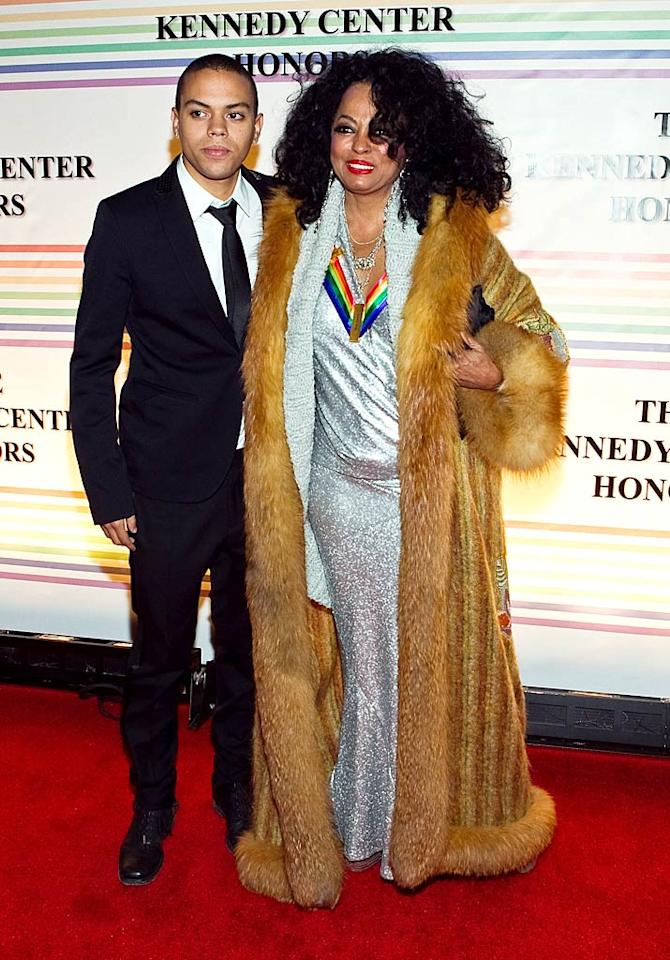 """Diana Ross, who was a Kennedy Center Honoree in 2007, looked every bit the diva in her shimmery dress and fur coat. Miss Ross was accompanied by her 22-year-old son Evan, whom you might recognize from his recurring role on """"90210."""" Paul Morigi/<a href=""""http://www.wireimage.com"""" target=""""new"""">WireImage.com</a> - December 5, 2010"""