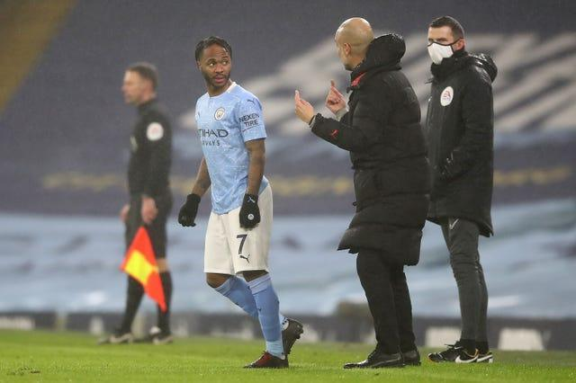 Guardiola (right) retains full confidence in Sterling (left)