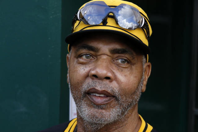 Member of the 1979 Pittsburgh Pirates World Championship team Dave Parker waits in the dugout before a pre-game ceremony honoring the team before a baseball game between the Pittsburgh Pirates and the Philadelphia Phillies in Pittsburgh, Saturday, July 20, 2019. (AP Photo/Gene J. Puskar)