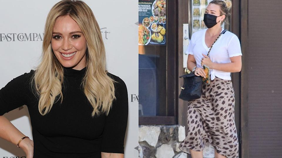 Hilary Duff was spotted wearing a $590 animal print skirt by Anine Bing. Images via Getty Images.