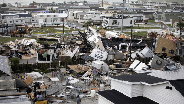 Mobile homes are upended and debris is strewn about at the Holiday Trav-l Park, Thursday, Sept. 5, 2019, in Emerald Isle, N.C, after a possible tornado generated by Hurricane Dorian struck the area. (Photo: Julia Wall/The News & Observer via AP)