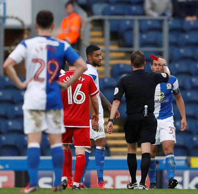 Soccer Football - FA Cup Second Round - Blackburn Rovers vs Crewe Alexandra - Ewood Park, Blackburn, Britain - December 3, 2017 Blackburn's Elliott Bennett is shown a red card by referee David Webb Action Images/Carl Recine