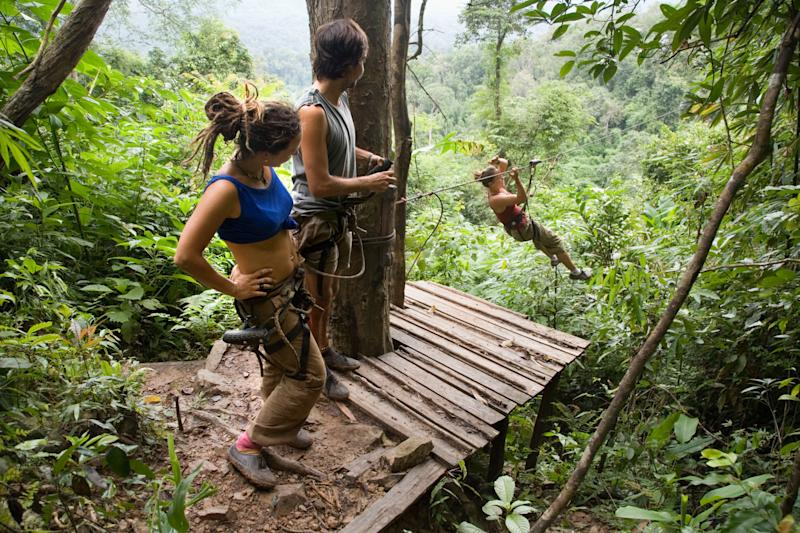 The view from one of the ziplines at the Gibbon Experience in Laos - Credit: David Gee 4 / Alamy Stock Photo