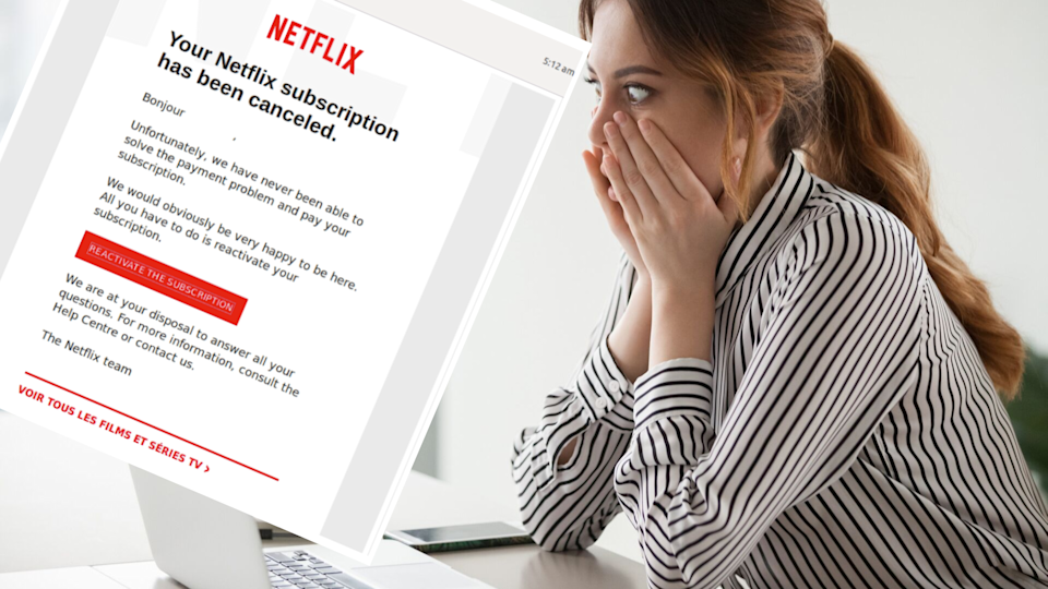 Pictured: Woman receives scam email, screenshot Netflix scam email. Images: MailGuard, Getty