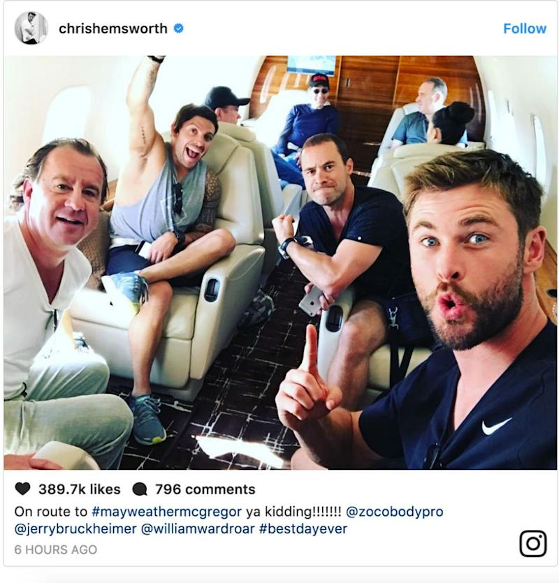 This image of Chris on a private jet was posted to social media. Source: Instagram