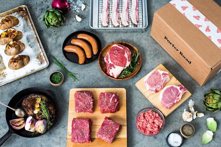 """<strong>How It Works:</strong> Choose from a variety of dry-aged and hand-cut meat from Kentucky and Tennessee pastures from <a href=""""https://fave.co/2X7FMZZ"""" rel=""""nofollow noopener"""" target=""""_blank"""" data-ylk=""""slk:Porter Road"""" class=""""link rapid-noclick-resp"""">Porter Road</a>.<br><strong>Offerings: </strong>Pasture-raised beef, pork, chicken, lamb and sausage with no hormones or antibiotics.<br><strong>Pricing: </strong>Find <a href=""""https://fave.co/2AaUsi6"""" rel=""""nofollow noopener"""" target=""""_blank"""" data-ylk=""""slk:ground beef starting at $9 a pound"""" class=""""link rapid-noclick-resp"""">ground beef starting at $9 a pound </a>and <a href=""""https://fave.co/3gqZ1Fr"""" rel=""""nofollow noopener"""" target=""""_blank"""" data-ylk=""""slk:chicken breast starting at $19 for a two-pack"""" class=""""link rapid-noclick-resp"""">chicken breast starting at $19 for a two-pack</a>. A <a href=""""https://fave.co/2zBrvvF"""" rel=""""nofollow noopener"""" target=""""_blank"""" data-ylk=""""slk:$50 basics box"""" class=""""link rapid-noclick-resp"""">$50 basics box </a>includes a 4-pound assortment of chicken breast, steak and ground beef. Free shipping on orders over $100.<br><strong>How To Try It</strong>: Visit <a href=""""https://fave.co/2X7FMZZ"""" rel=""""nofollow noopener"""" target=""""_blank"""" data-ylk=""""slk:Porter Road"""" class=""""link rapid-noclick-resp"""">Porter Road</a>"""