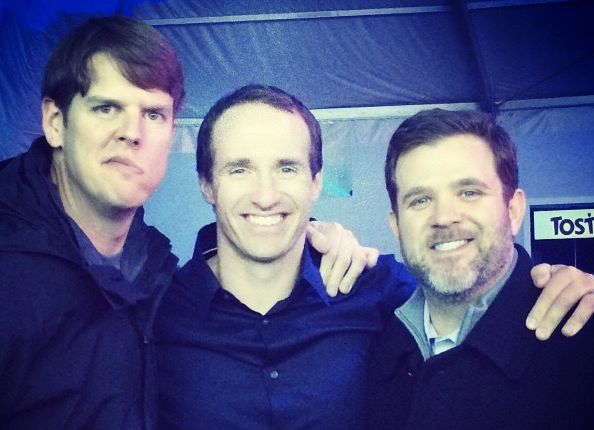 Drew Brees (middle) and Jonny Rodgers (right) remain close friends more than two decades after their competition to become Westlake's starting quarterback. (photo via Jonny Rodgers)