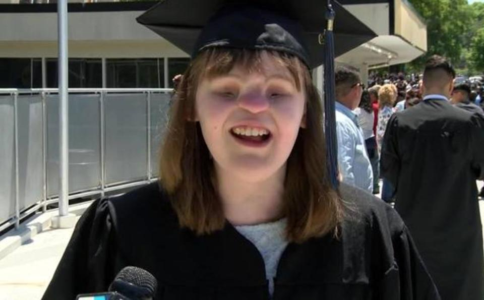 Cassidy Hooper, a young woman born without eyes or a nose, has graduated college. (Photo: WBTV)