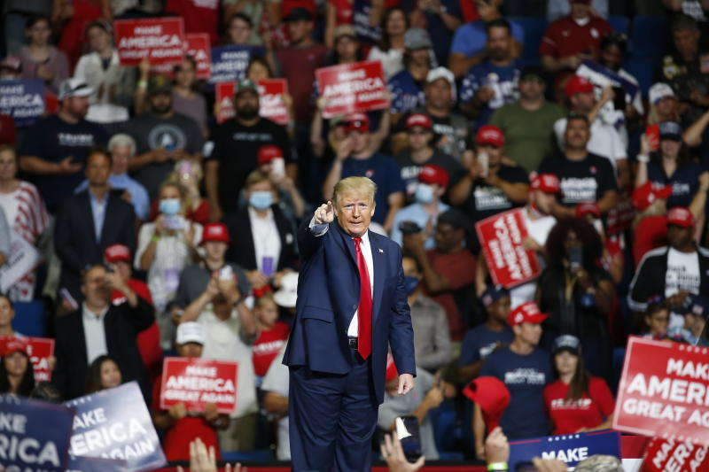 Trump said about one million had registered to turn up at the rally, however the turnout was described as 'embarrassing' online. Source: AP