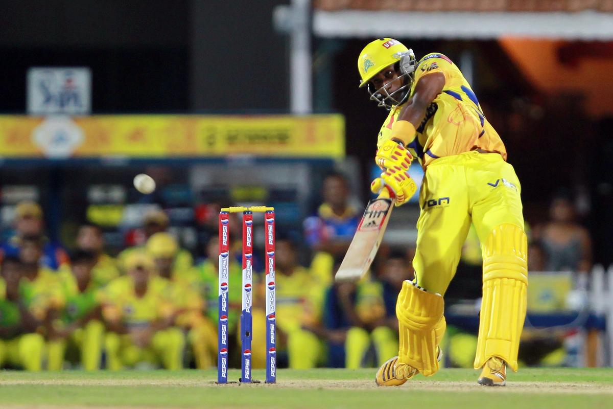 Dwayne Bravo hits a six to bring CSK within range of the winning target during match 30 of the Pepsi Indian Premier League between The Chennai Super Kings and the Rajasthan Royals held at the MA Chidambaram Stadium in Chennai on the 22nd April 2013. (BCCI)