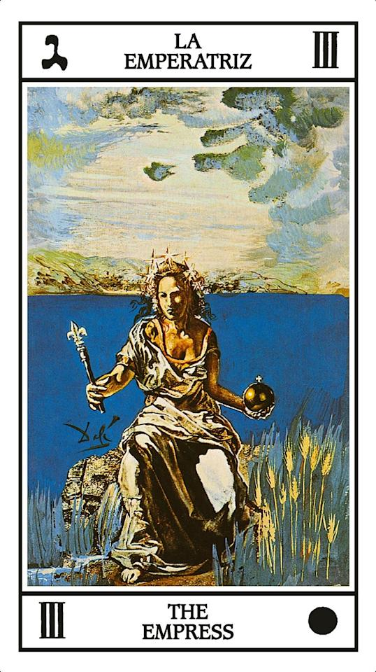 """An ode to female power and perseverance, the Empress card featured the likeness of the formidable Gala Dalí (the wife of the artist), while its background is lifted from Delacroix's explosive 1826 painting <em>Greece on the Ruins of Missolonghi</em>. Fiebig's practical advice for those who flip this card: """"Take charge of your daily well-being. Ban false goddesses and foreign empresses from your life!"""""""