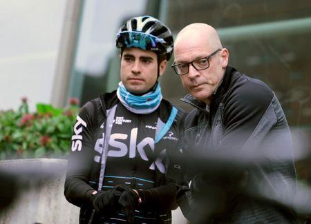 Team Sky chief Dave Brailsford (R) talks to cyclist Mikel Landa of Spain before a training session in Alcudia, on the island of Mallorca, Spain January 10, 2017. REUTERS/Enrique Calvo