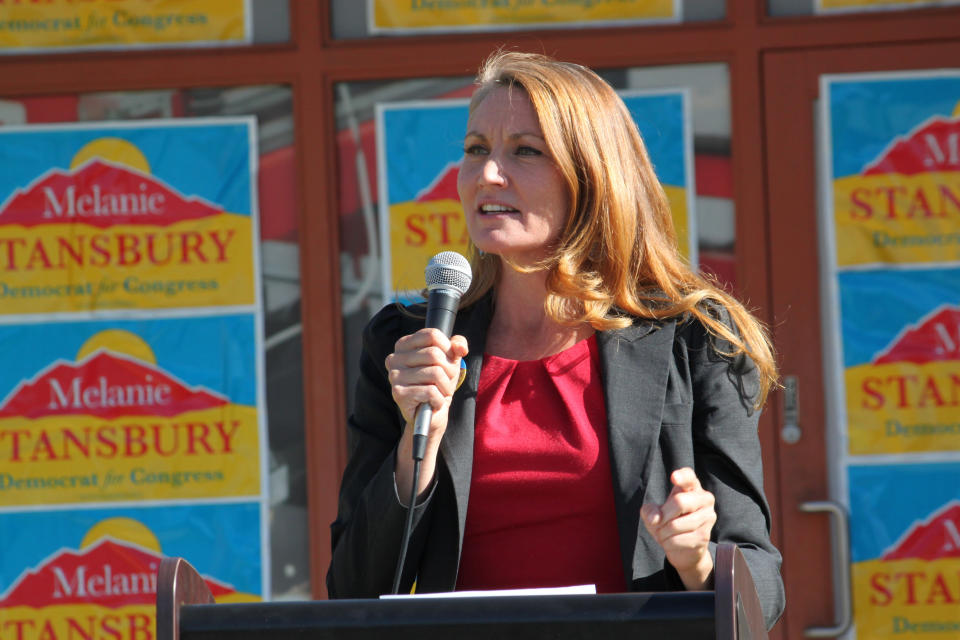 Democratic congressional candidate Melanie Stansbury speaks during a campaign rally in Albuquerque, New Mexico, on Thursday, May 27, 2021. She was joined by Doug Emhoff, the husband of Vice President Kamala Harris. The trip marked Emhoff's first on behalf of a candidate. (AP Photo/Susan Montoya Bryan)