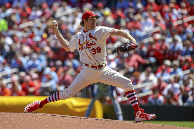 St. Louis Cardinals starting pitcher Miles Mikolas (39) throws during the first inning of a baseball game against the New York Mets Saturday, April 20, 2019, in St. Louis. (AP Photo/Scott Kane)