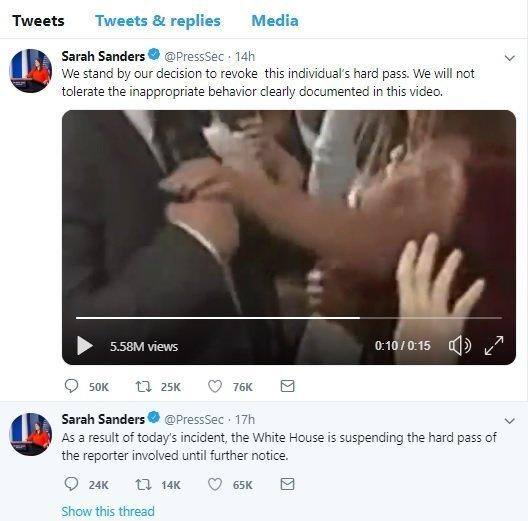 White House press secretary Sarah Huckabee Sanders sent out this manipulated video on her official White House Twitter account late Wednesday night.