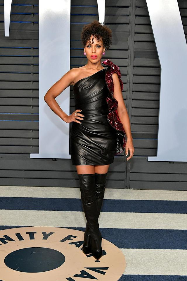 <p>The <em>Scandal</em> star made the case for head-to-toe leather in this daring get-up by Alexandre Vauthier<em>.</em> (Photo: Dia Dipasupil/Getty Images) </p>