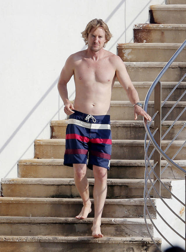 <p>The quirky actor went with classic nautical print swim trunks while he was soaking up the sun at, you guessed it, Hotel du Cap. (Photo: BackGrid) </p>