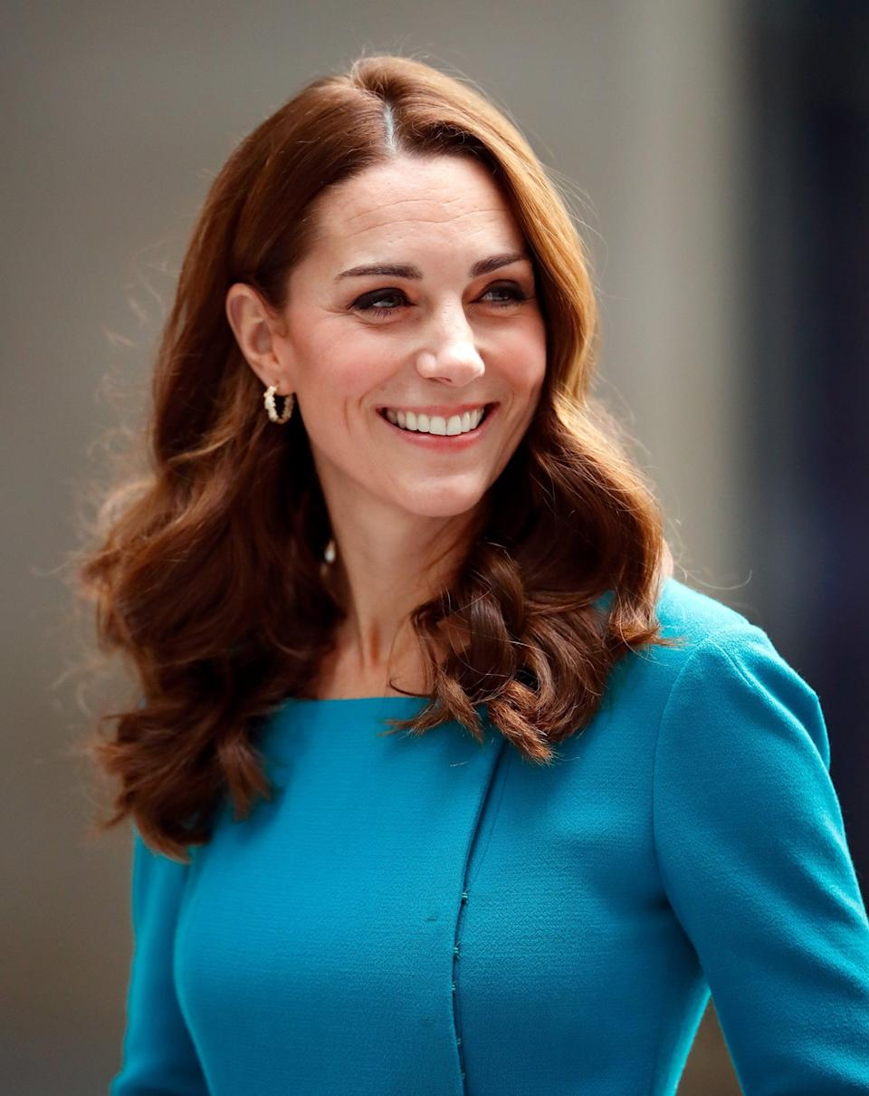 <p>Middleton tends to go for two types of blowouts: big and glamorous or this more casual, less bouncy version (that she wore for a visit to the BBC) with lots of curl at the ends. In this case, slightly off-center part and loose waves nicely show off the warm, caramel highlights at the front of her hair.</p>