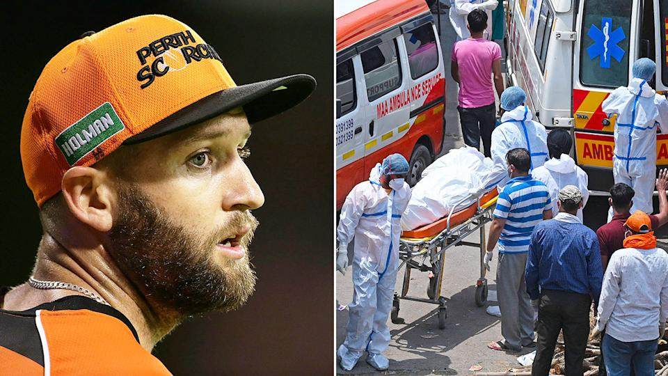 Seen here, Aussie bowler Andrew Tye has flown home from India amid the ongoing virus crisis.