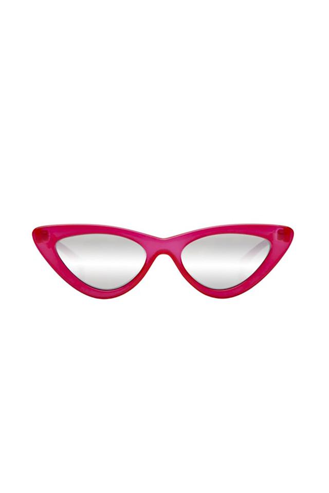 """<p>Actually named """"Lolita,"""" these have been worn by Rihanna and Gigi Hadid.</p><p>$119, <a rel=""""nofollow"""" href=""""https://lespecs.com/the-last-lolita-1502112-opaque-red-silver-mirror-las1502112"""">lespecs.com</a>.</p>"""