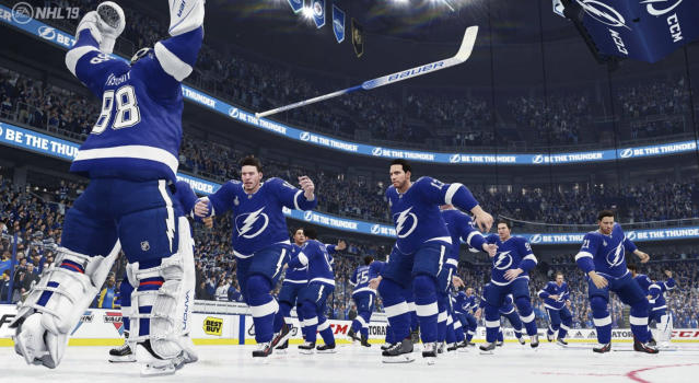 The Tampa Bay Lightning celebrate winning the Stanley Cup in this year's EA Sports playoff simulation. (EA Sports//NHL 19)
