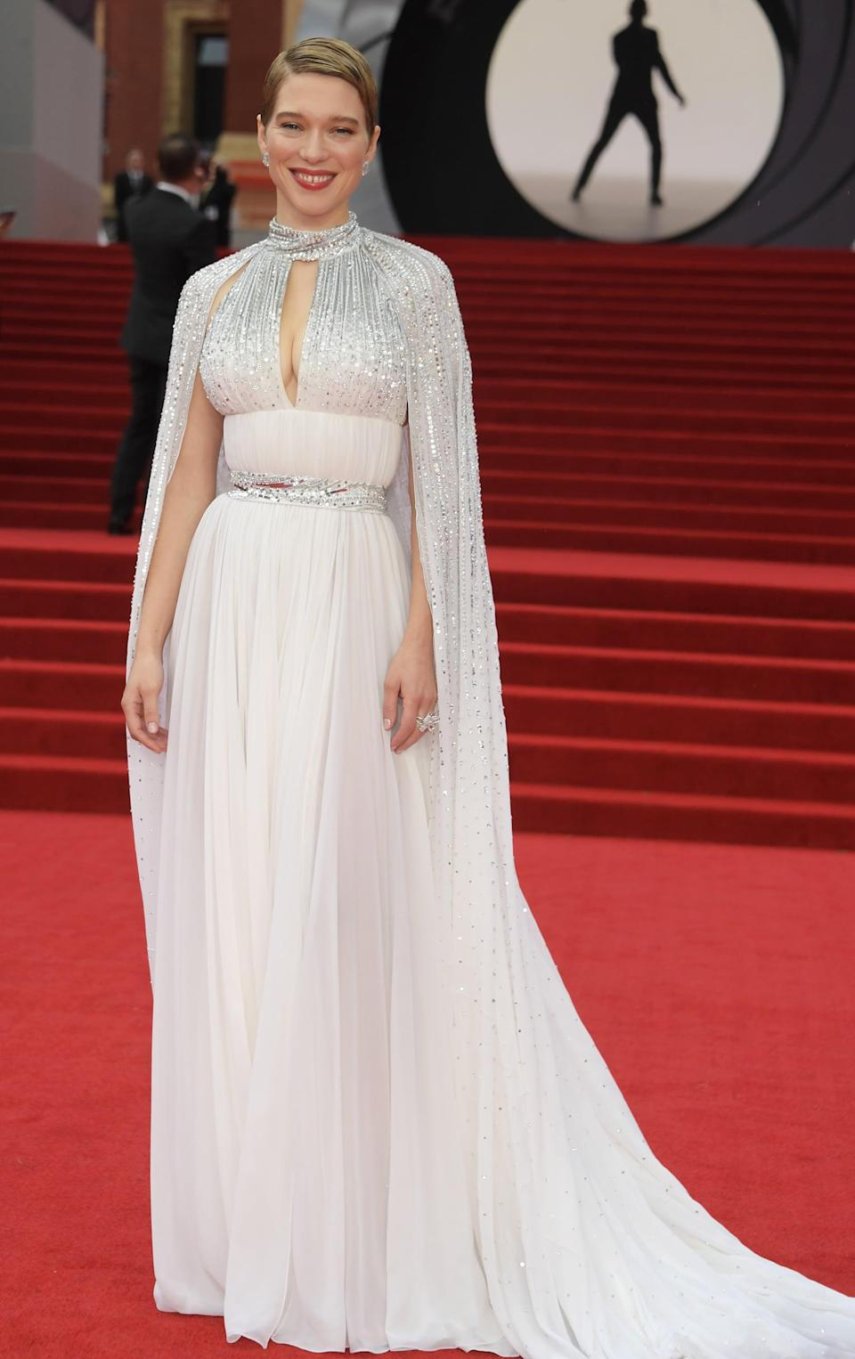 <p>Seydoux wore a custom Louis Vuitton gown with a keyhole neckline and sparkling cape. </p>