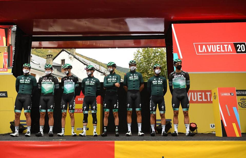 SALLENT DE GLLEGO SPAIN  OCTOBER 25 Start  Pascal Ackermann of Germany Martin Laas of Estonia Felix Grobschartner of Austria Jay Mccarthy of Australia Ide Schelling of The Netherlands Andreas Schillinger of Germany Michael Schwarzmann of Germany and Rudiger Selig of Germany and Team BORA  Hansgrohe  Mask  Covid safety measures  Team Presentation  during the 75th Tour of Spain 2020  Stage 6 a 1464km stage from Biescas to Sallent de Gllego  Aramn Formigal 1790m  lavuelta  LaVuelta20  La Vuelta  on October 25 2020 in Sallent de Gllego Spain Photo by David RamosGetty Images