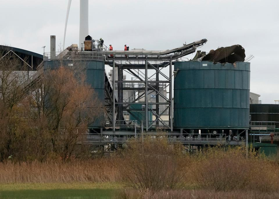 <p>The scene of the fatal explosion at the water treatment works in Avonmouth, near Bristol</p>EPA/Stringer