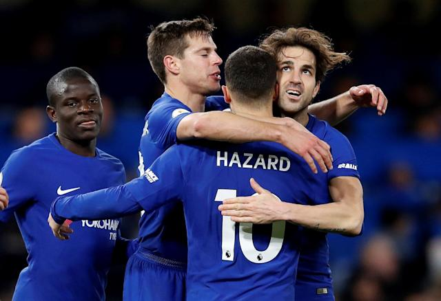 "Soccer Football - Premier League - Chelsea vs West Bromwich Albion - Stamford Bridge, London, Britain - February 12, 2018 Chelsea's Eden Hazard celebrates scoring their third goal with Cesc Fabregas, Cesar Azpilicueta and N'Golo Kante REUTERS/Eddie Keogh EDITORIAL USE ONLY. No use with unauthorized audio, video, data, fixture lists, club/league logos or ""live"" services. Online in-match use limited to 75 images, no video emulation. No use in betting, games or single club/league/player publications. Please contact your account representative for further details."