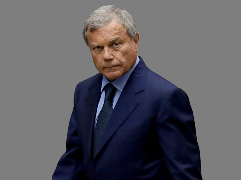 Martin Sorrell headshot, as WPP Worldwide CEO, graphic element on gray