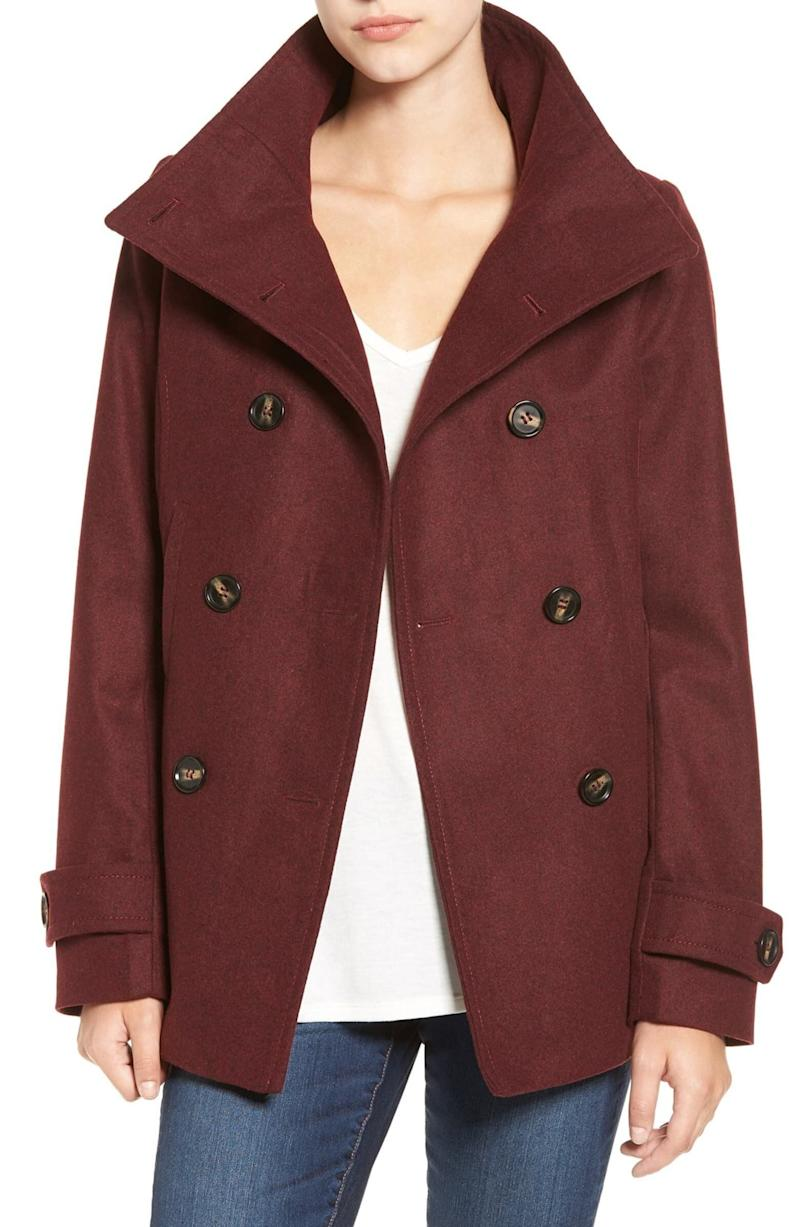 """This cropped peacoat has 2,200 reviews and a 4.1-star rating. Normally $58, get it on sale for $38 at <a href=""""https://fave.co/327Kacv"""" target=""""_blank"""" rel=""""noopener noreferrer"""">Nordstrom</a>. It's available in <a href=""""https://fave.co/327Kacv"""" target=""""_blank"""" rel=""""noopener noreferrer"""">sizes XS to XL</a>."""