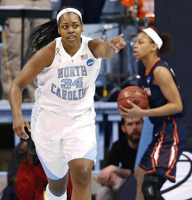 North Carolina's Xylina McDaniel (34) acknowledges a pass from a teammate against UT-Martin during the first half of a first-round game of the NCAA women's college basketball tournament, Sunday, March 23, 2014, in Chapel Hill, N.C. (AP Photo/Ellen Ozier)