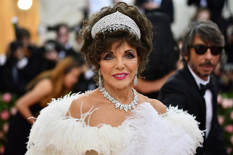 Joan Collins channelled her Dynasty character at the Met Gala 2019 (Invision/AP)