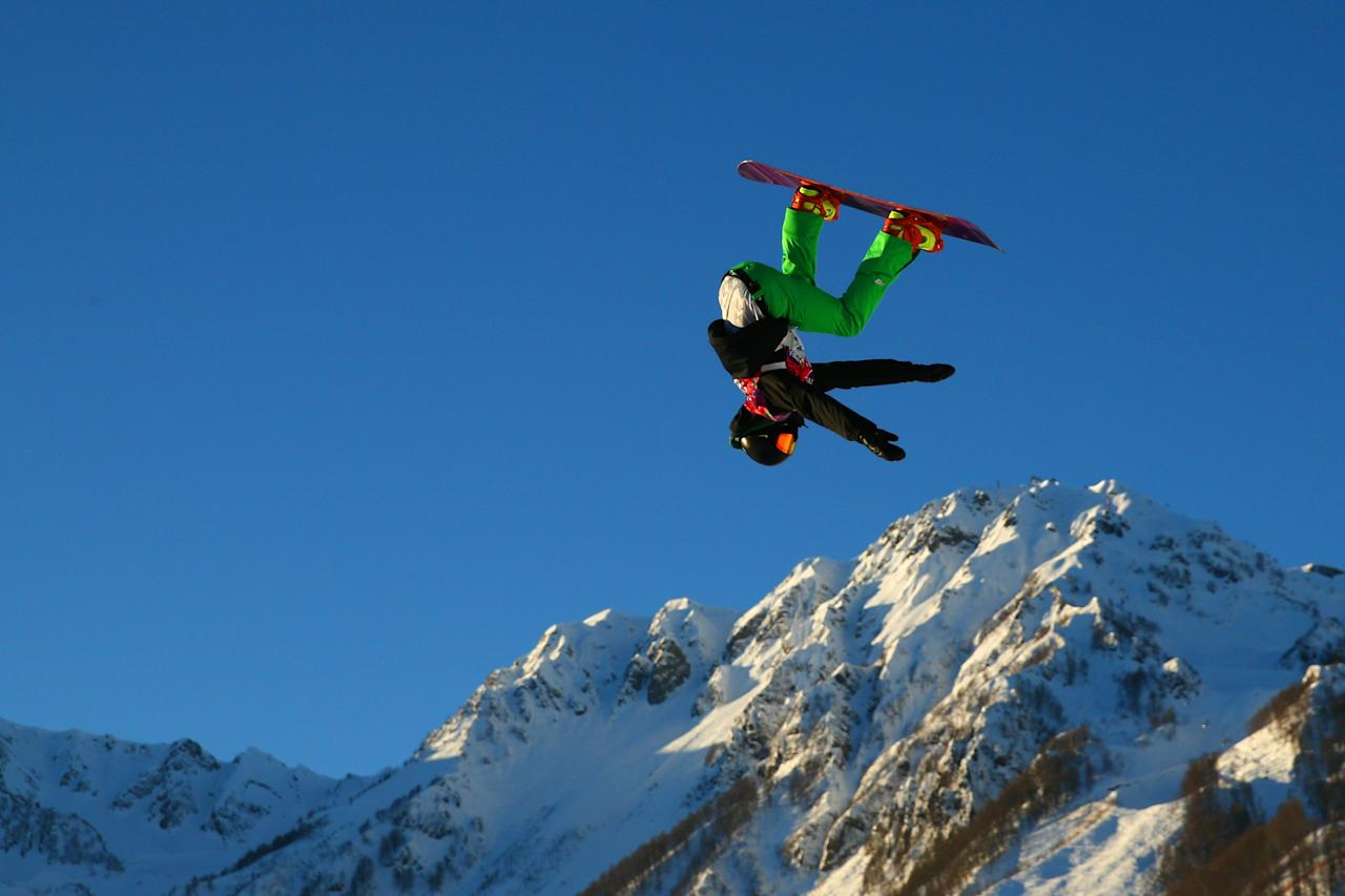 SOCHI, RUSSIA - FEBRUARY 08: Seamus O'connor of Ireland competes during the Snowboard Men's Slopestyle Semifinals during day 1 of the Sochi 2014 Winter Olympics at Rosa Khutor Extreme Park on February 8, 2014 in Sochi, Russia. (Photo by Cameron Spencer/Getty Images)