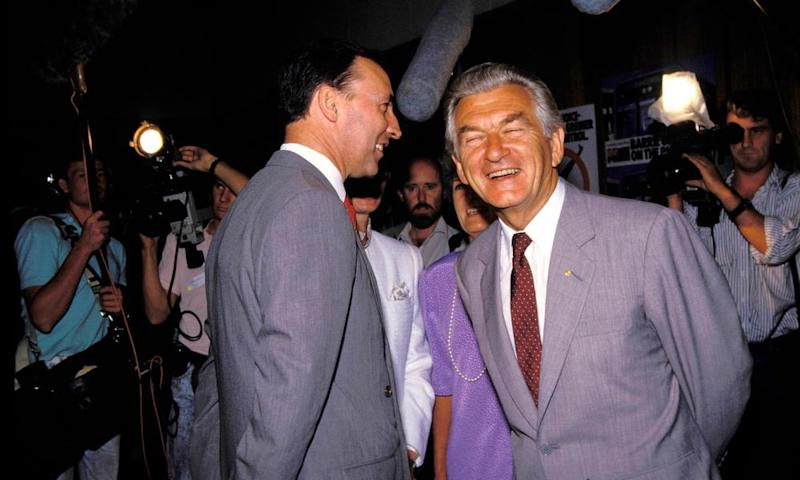 Bob Hawke and Paul Keating in Sydney in 1988. The boom times of the 1980s would give way to a crash in the early 90s.