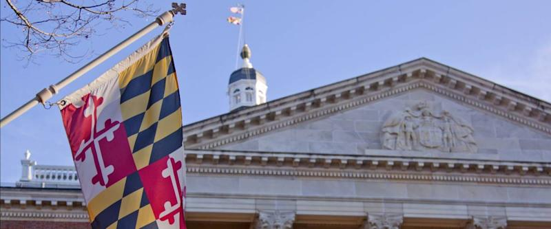 The flag outside the north entrance of the Maryland State House in Annapolis, MD. where the Maryland General Assembly convenes for three months a year.