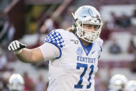 FILE - In this Sept. 28, 2019, file photo, Kentucky guard Logan Stenberg (71) warms-up before an NCAA college football game against South Carolina, in Columbia, S.C. Stenberg was selected to The Associated Press All-Southeastern Conference football team, Monday, Dec. 9, 2019.(AP Photo/Sean Rayford, File)
