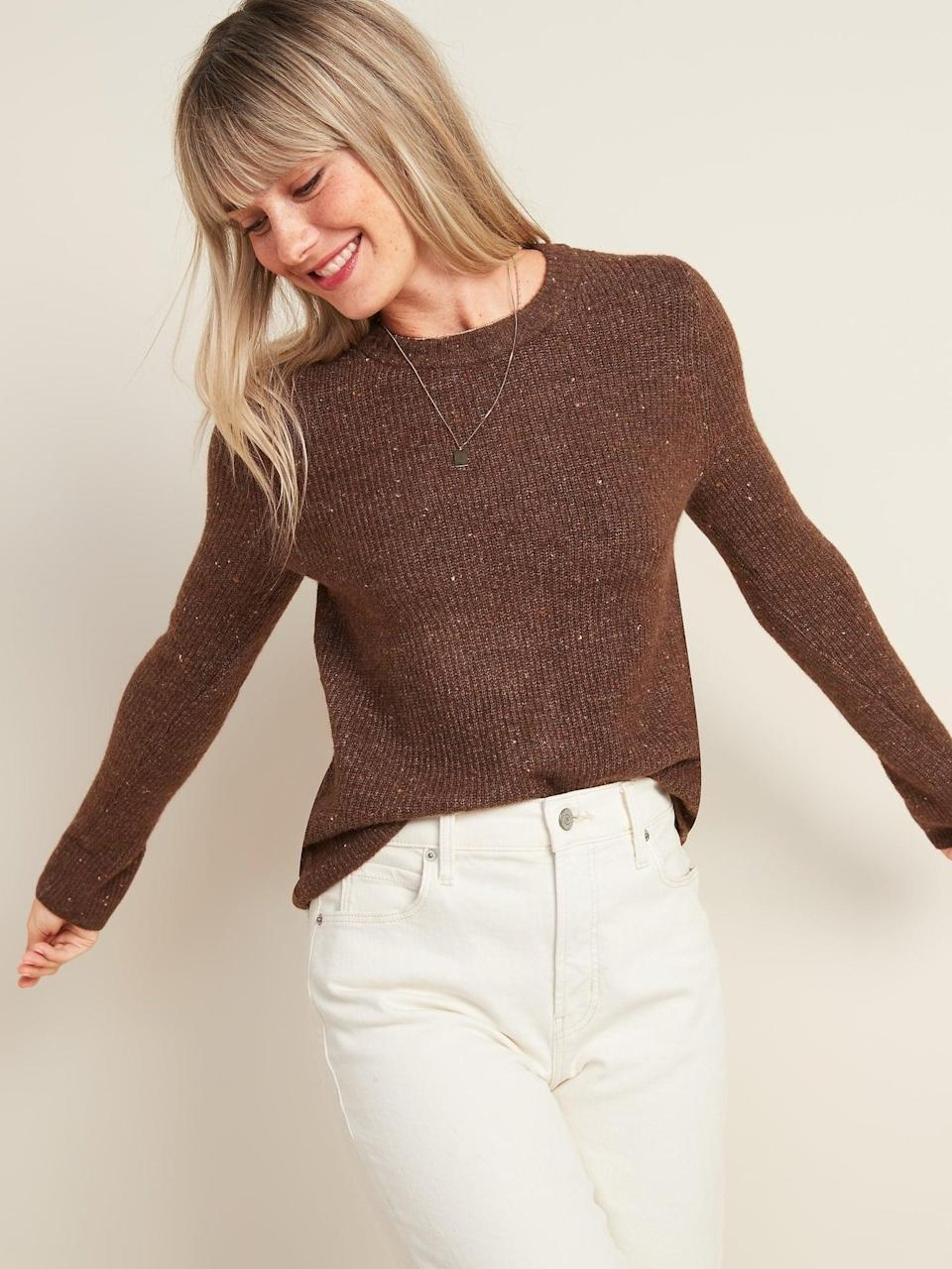 <p>Go a size bigger with this <span>Cozy Textured Crew-Neck Sweater</span> ($34, originally $36) for an ultra comfy day.</p>