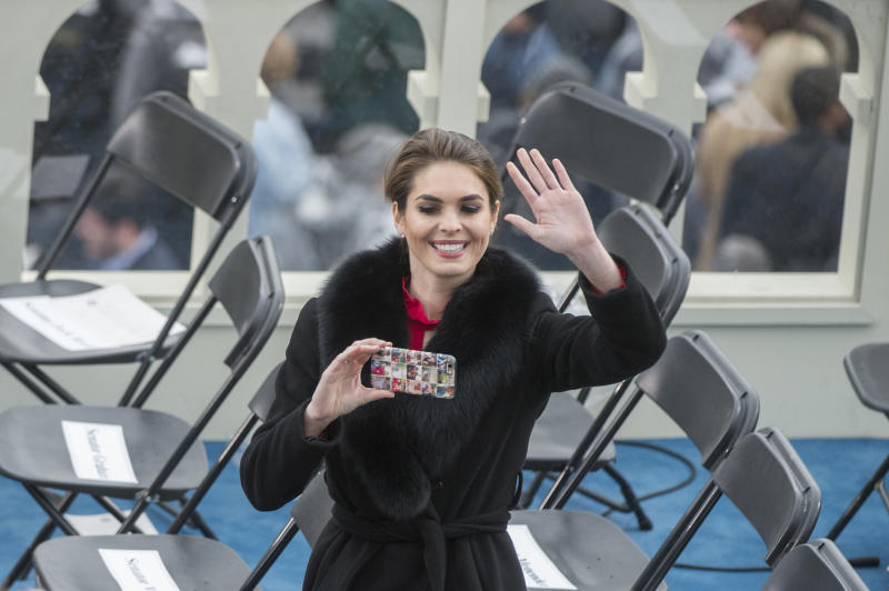 Hope Hicks, aide to President Donald J. Trump, takes a picture on the West Front of the Capitol after Trump was sworn in as the 45th President of the United States, January 20, 2017.